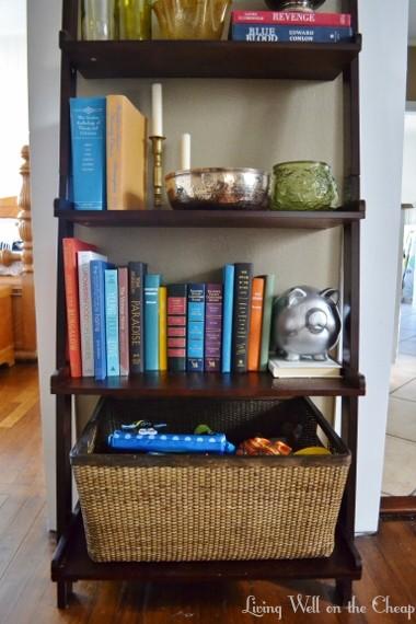 babyproofed bookshelf