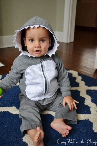 047 (380x570)  sc 1 st  Living Well on the Cheap & Easy and Inexpensive DIY Shark Costume | Living Well on the Cheap
